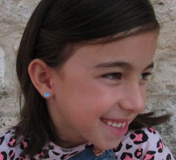 pendientes pez globo plata baratos regalo niña rosca tuerca hipoalergenico aretes en la oreja