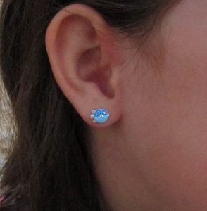 pendientes pez globo plata baratos regalo niña rosca tuerca hipoalergenico aretes en la oreja modelo