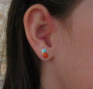 pendientes piña grande plata niña bebe rosca seguridad hipoalergénicos tuerca aretes en la oreja