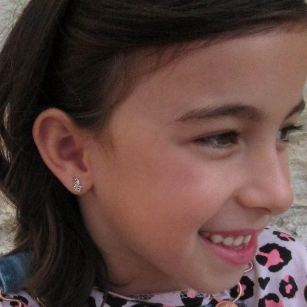 pendientes plata pavo real plata rosca seguridad niña niña alergia regalo barato hipoalergenico en la oreja