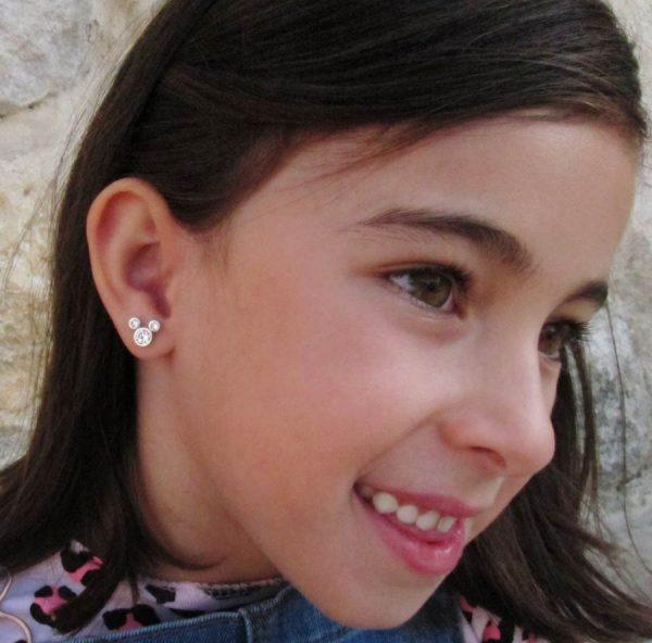 pendientes plata raton carroza regalo niña rosca tuerca hipoalergénicos regalo barato arete en la oreja