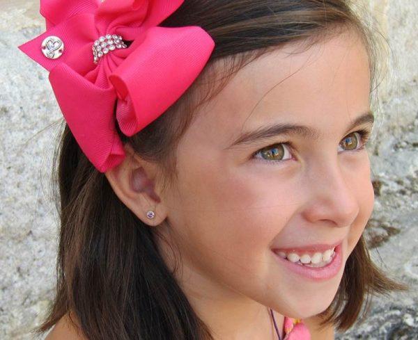 pendientes rosa circonita niña mujer bebe regalo rosca oro hipoalergénico tuerca arete en la oreja