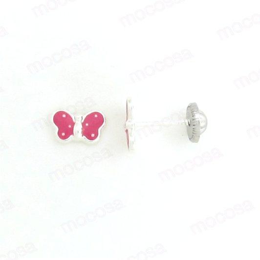 pendientes mariposa fucsia plata rosca niña tuerca hipoalergénicos seguridad aretes rosa
