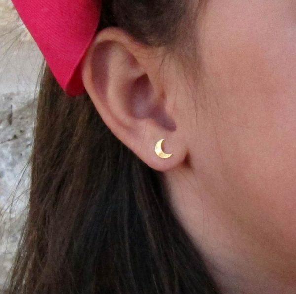 pendientes oro luna lisos niña mama mujer regalo rosca hipoalergenicos tuerca arete en la oreja modelo