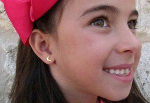 pendientes oro luna lisos niña mama mujer regalo rosca hipoalergenicos tuerca arete en la oreja modelo guapa