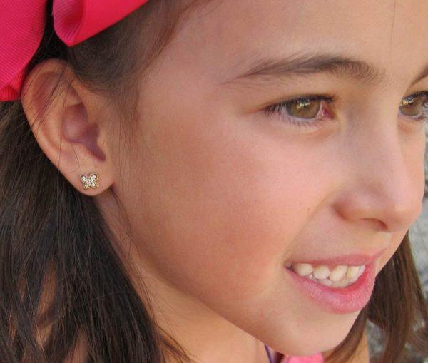 pendientes mariposa multipiedra oro niña bebe rosca seguridad hipoalergenico en la oreja