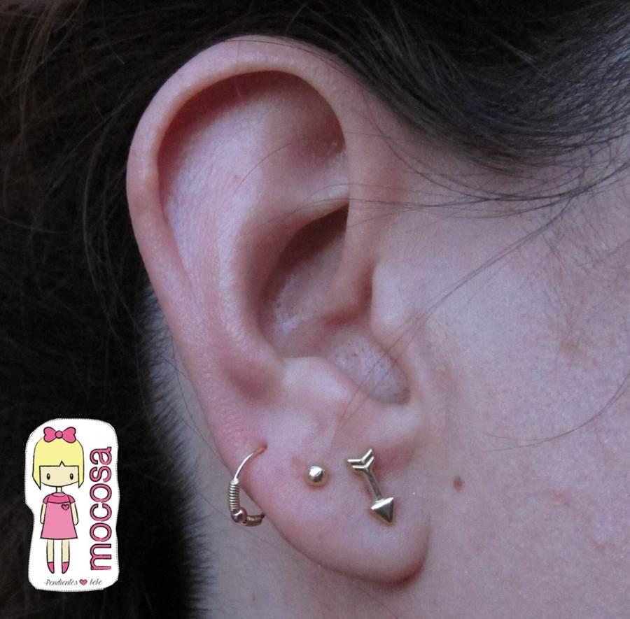 Conjunto pendientes oro flecha aro piercing bola oreja mocosa