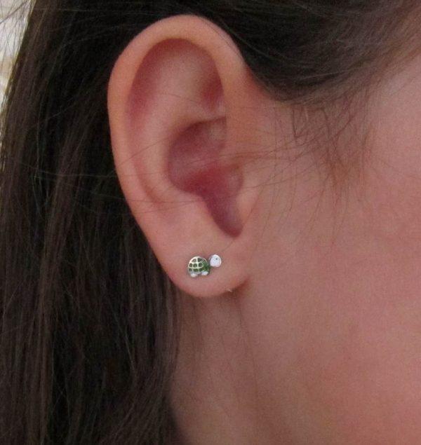 Pendientes tortuga plata bebe niña rosca mocosa seguridad en la oreja modelo