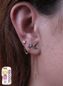 Pendintes largos, dobles oro conjunto niña joven oreja varios mocosa helix cadena