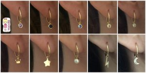pendientes de aro oro con colgante de aro mocosa circonita colores rayo estrella luna corona perla