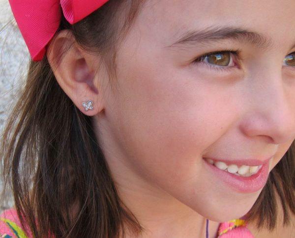 pendientes mariposa multipiedra oro blanco niña bebe rosca seguridad hipoalergenico tuerca en la oreja