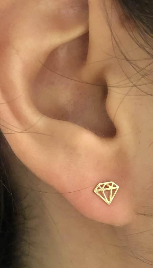 pendientes oro forma diamante niña joven moda regalo rosca seguridad mocosa en la oreja
