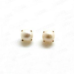 perla cultivada garras pendientes oro niña bebe rosca hipoalergénicos comodos forrados regalo moda