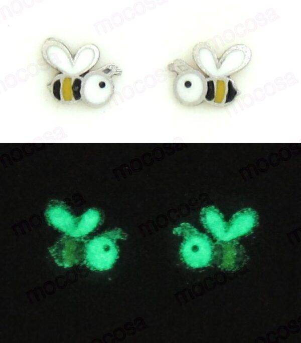 pendientes abeja shainy brillan en la oscuridad fluorescentes animales plata rosca tuerca para niña regalo original en la oreja rosca tuerca