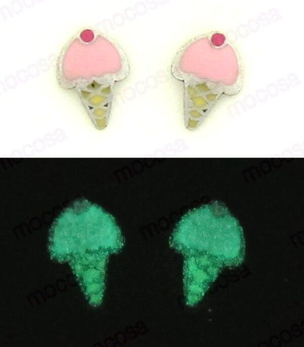 pendientes helado shainy brillan en la oscuridad para niña regalo original rosca tuerca plata como quedan en la oreja