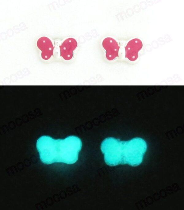 Pendientes mariposa fucsia rosa gr sainy brilla en la oscuridad fluorescente niña regalos original