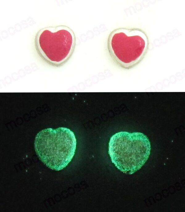 pendientes corazón fucsia shainy para niña rosca tuerca originales regalo diferentes