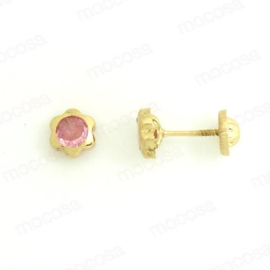 Pendientes aretes flor circonita piedra rosa 5 mm rosca tuerca
