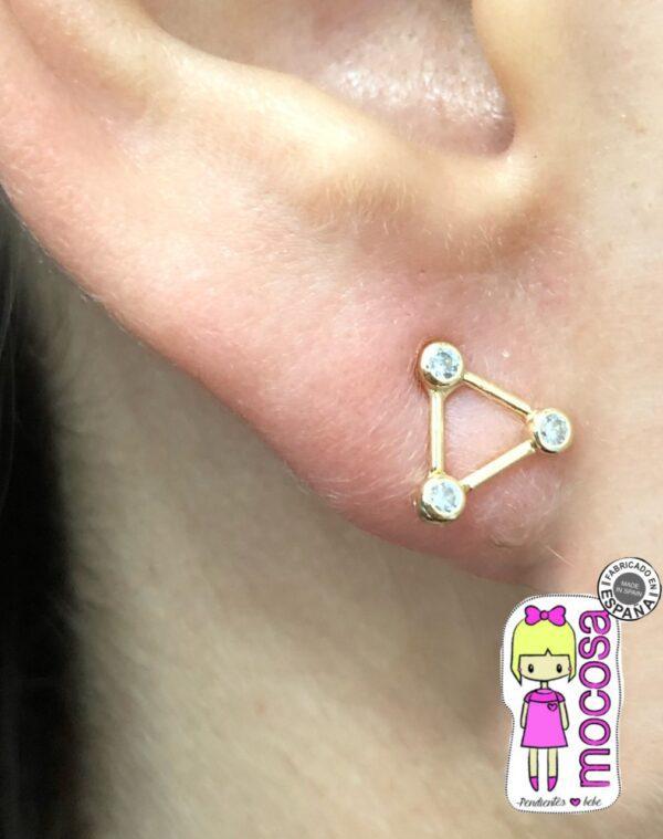 pendientes aretes triangulo constelacion circonita rosca tuerca originales diferentes unicos exclusivos mocosa en la oreja