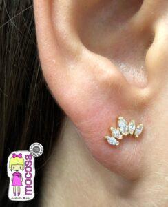 pendientes corona circonita oro niña mujer rosca tuerca seguridad mocosa original atrevido diferentes en la oreja